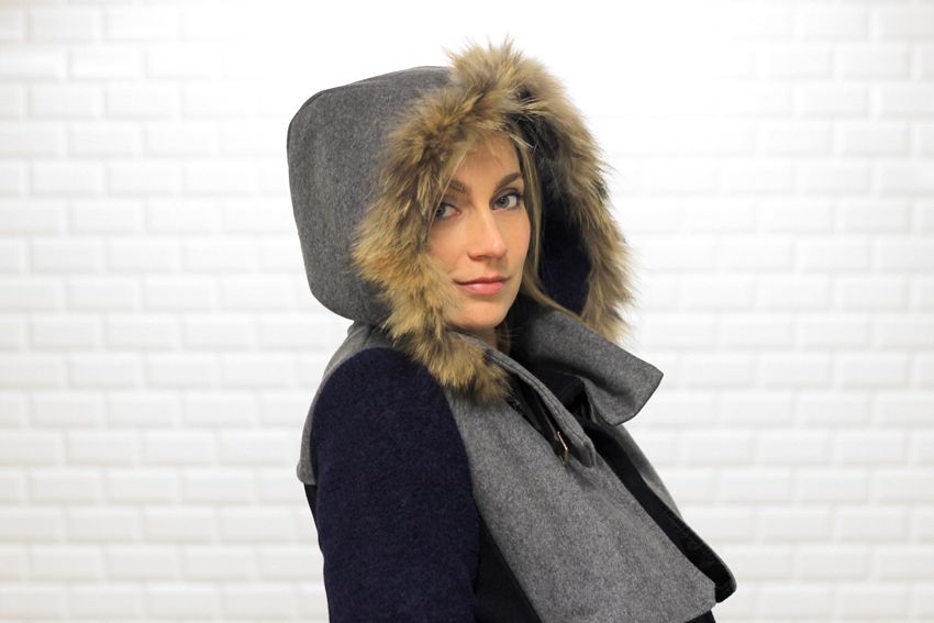 Manteau capuche fourrure