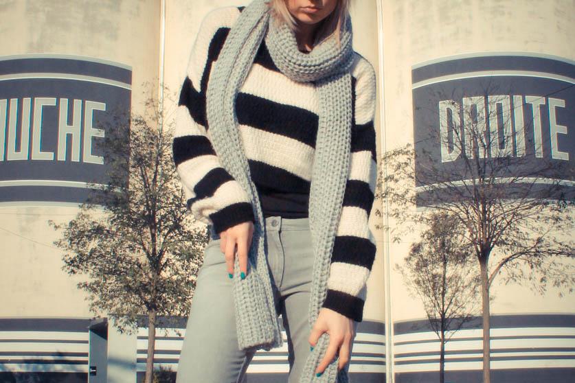 pull rayure noir et blanc