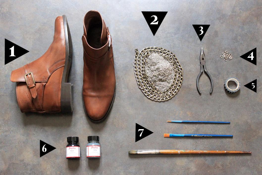 DIY chaussures chaine et paillettes
