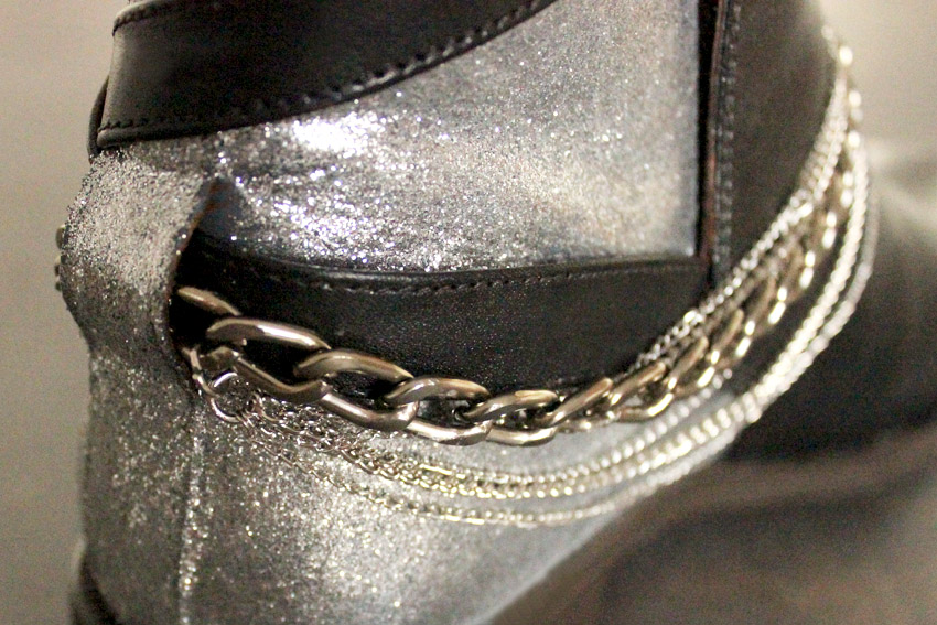DIY leather shoes chains and glitter