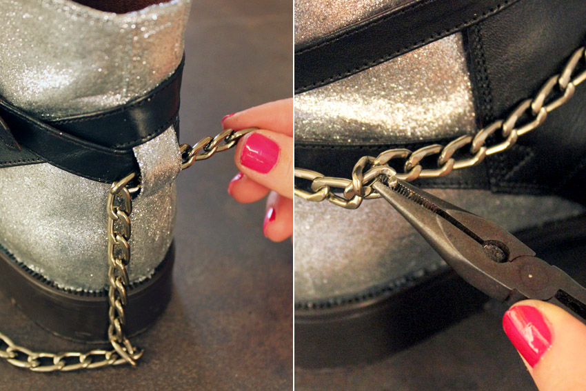 DIY leather shoes chains