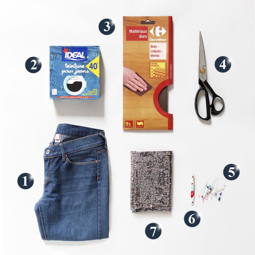 DIY jeans paillettes