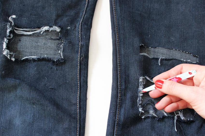 comment faire un jean troué