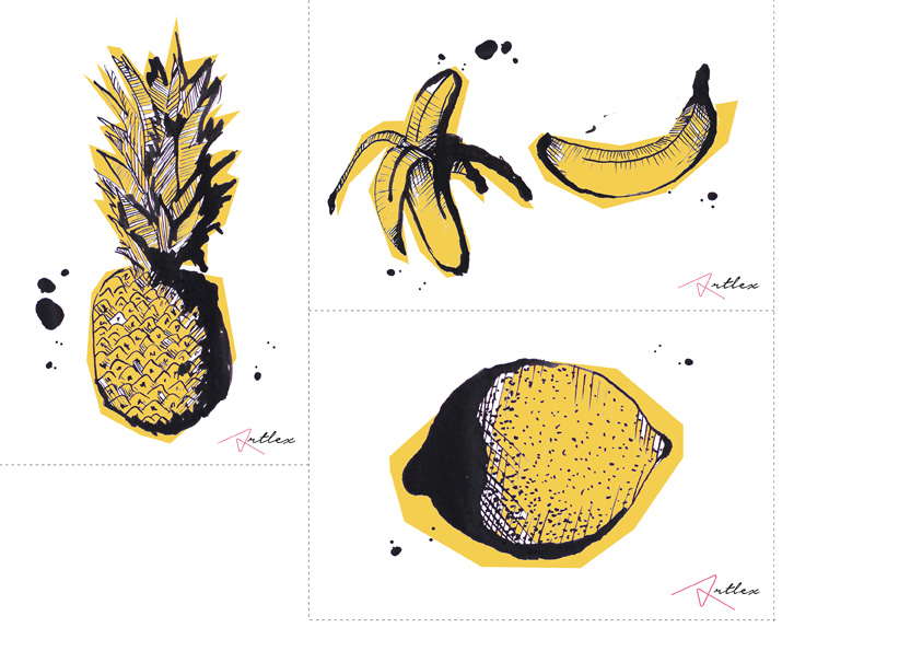 Fruits drawing by Artlex blog DIY