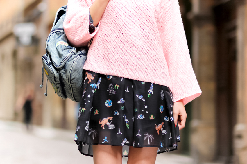 pink sweater cartoon print dress