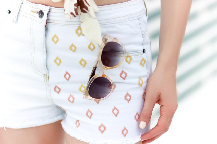 short blanc en jean