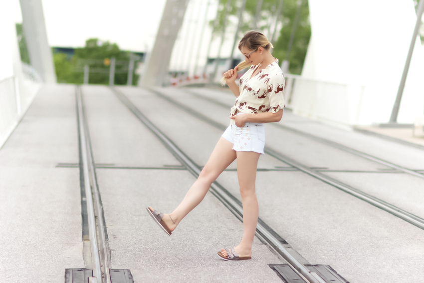 street style white denim short