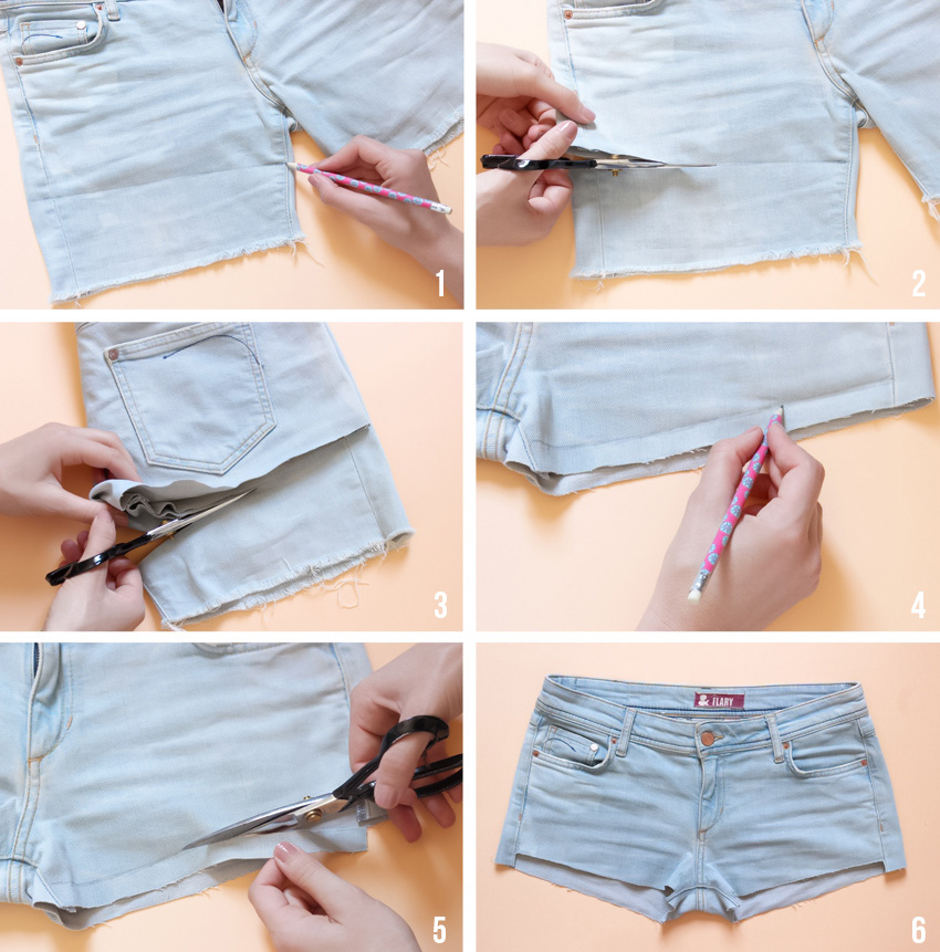 Diy short marguerites blog mode diy artlex - Comment couper un pantalon en short ...