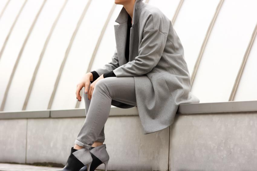 grey street style oversize coat manteau gris