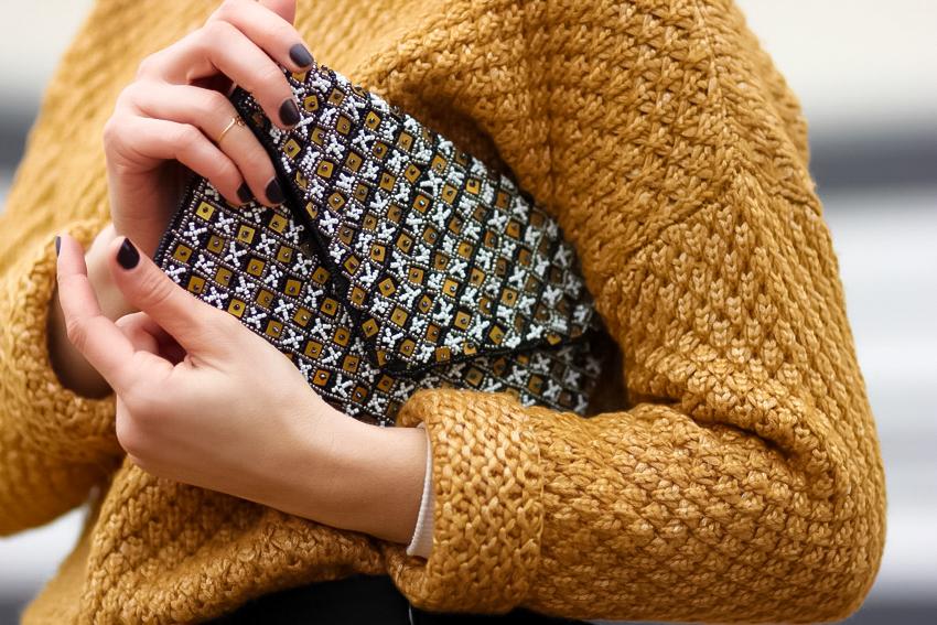 Pochette brodée perles 1-2-3 Paris
