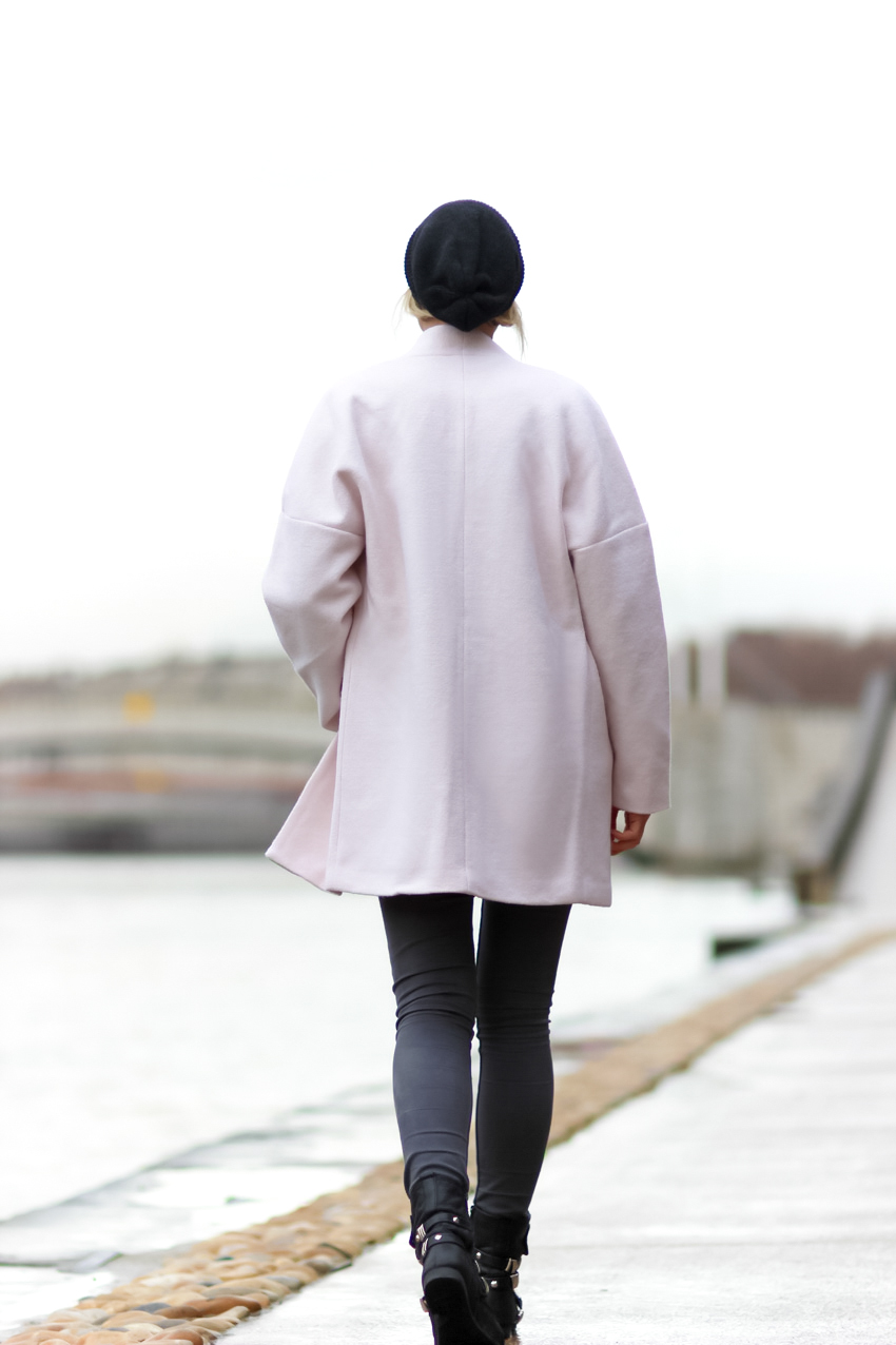 long manteau rose pale hiver