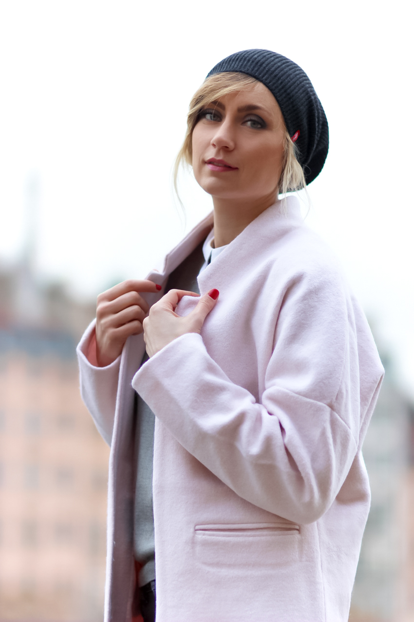 manteau over size rose pastel
