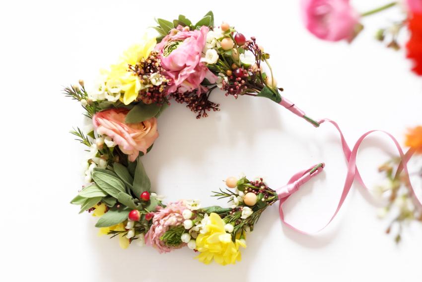 Couronne de fleurs fraiches