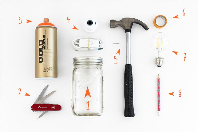 DIY Luminaire bocal matériel