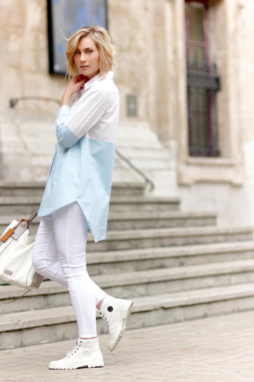 street style long white shirt