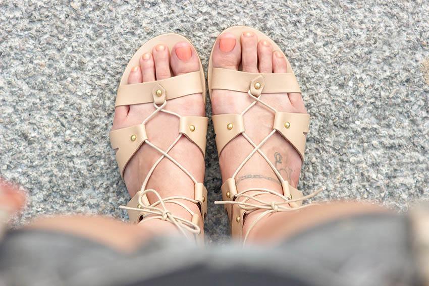 spartiates cuir sandales lacées blog mode lyon Artlex