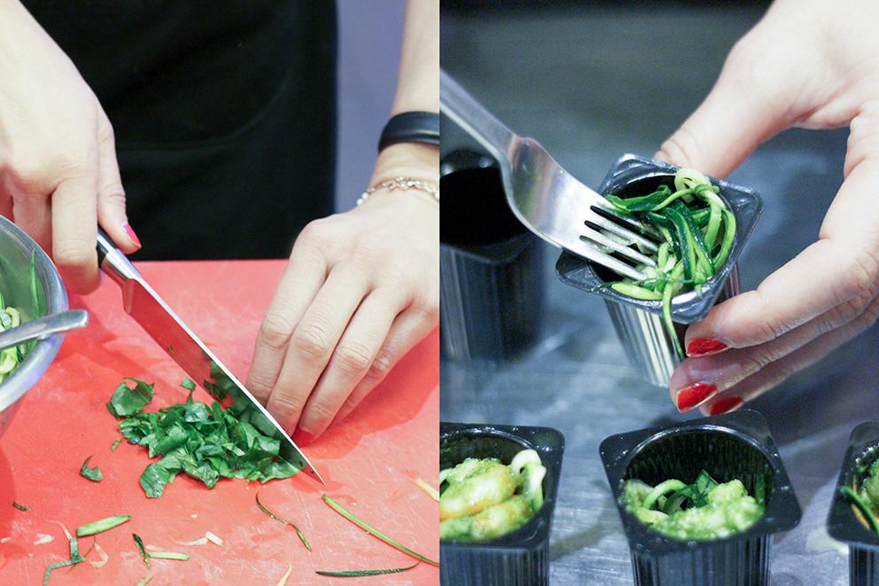 recette julienne de courgettes et crevettes au pesto