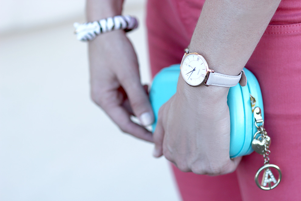 montre fossil et minaudiere turquoise