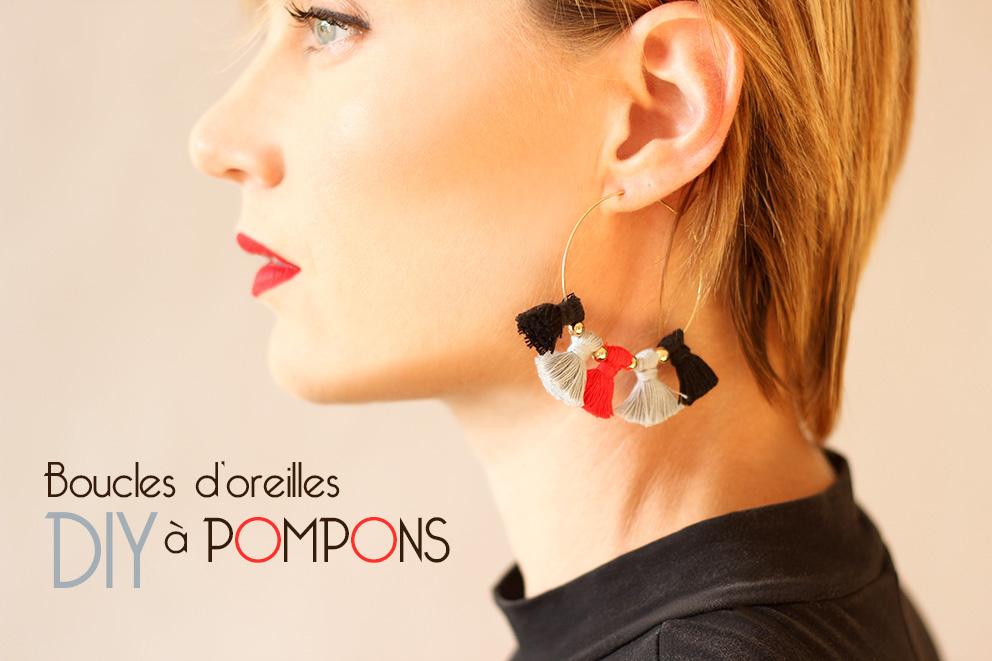 DIY boucles d'oreilles pompon