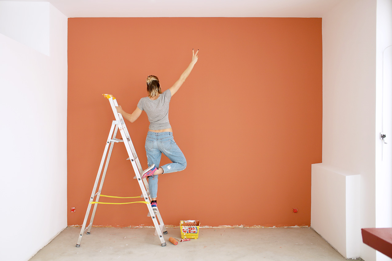 Peinture À L Éponge Sur Mur diy : peindre son mur couleur terracotta - blog diy mode