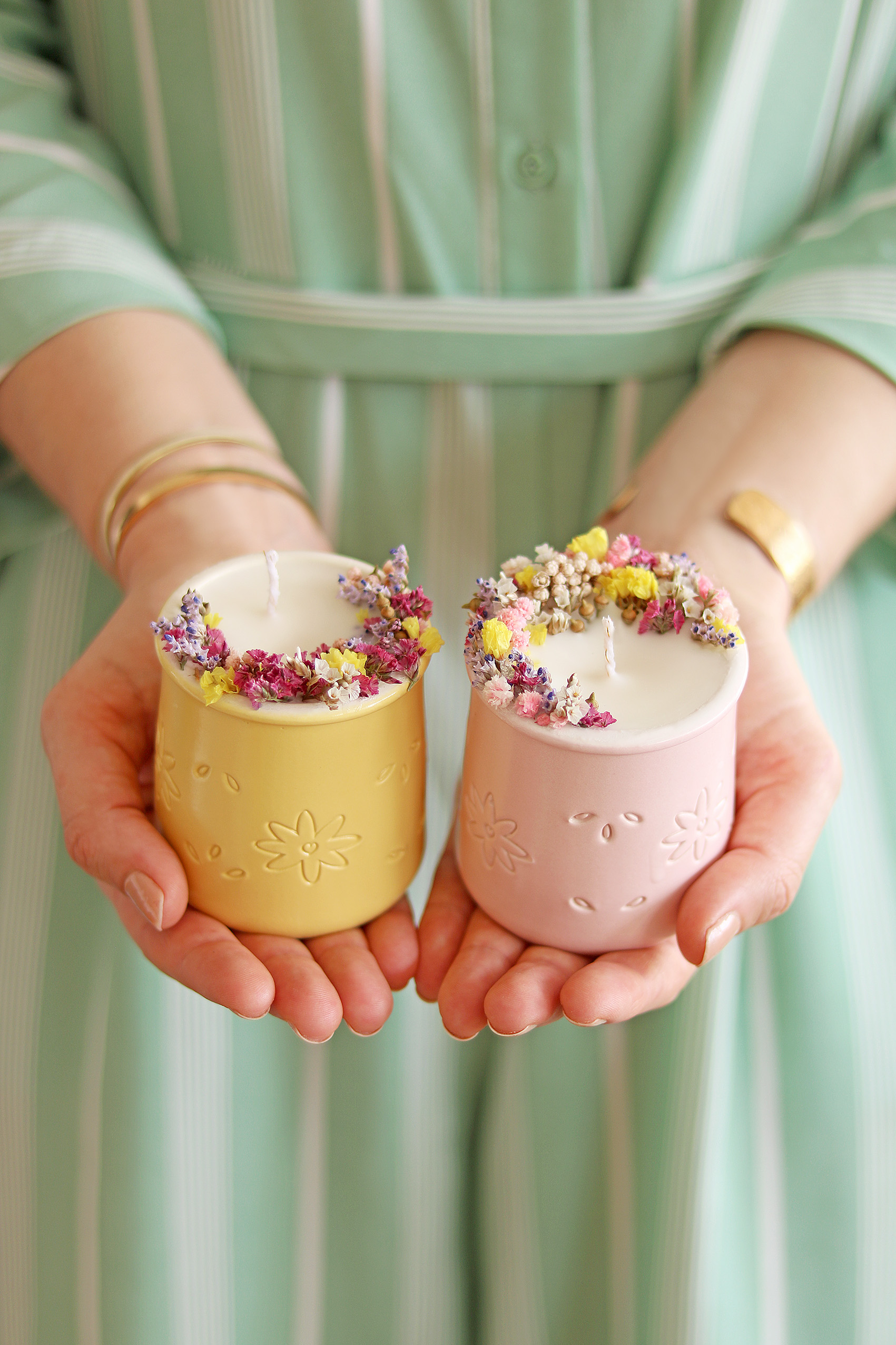 dried flower candles DIY
